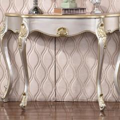千匠一品法式古典优质橡胶木香槟银玄关台