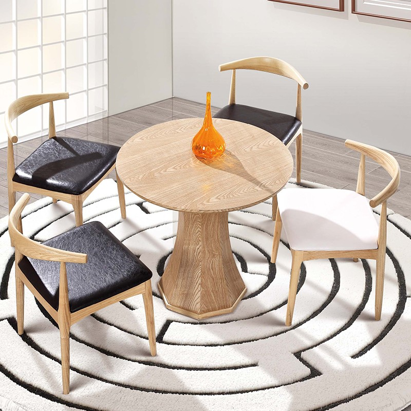 千匠一品 现代简约北欧白蜡木实木牛皮办公洽谈休闲椅W-005-G