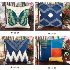 【包邮】千匠一品北欧优质棉麻布艺绣花抱枕HX-24-J