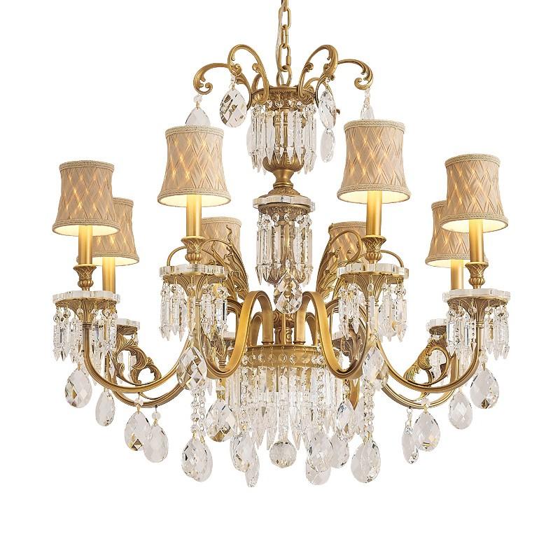 千匠一品欧式吊灯客厅灯水晶灯奢华大气餐厅灯简欧卧室灯简约现代家用灯具D-01 L