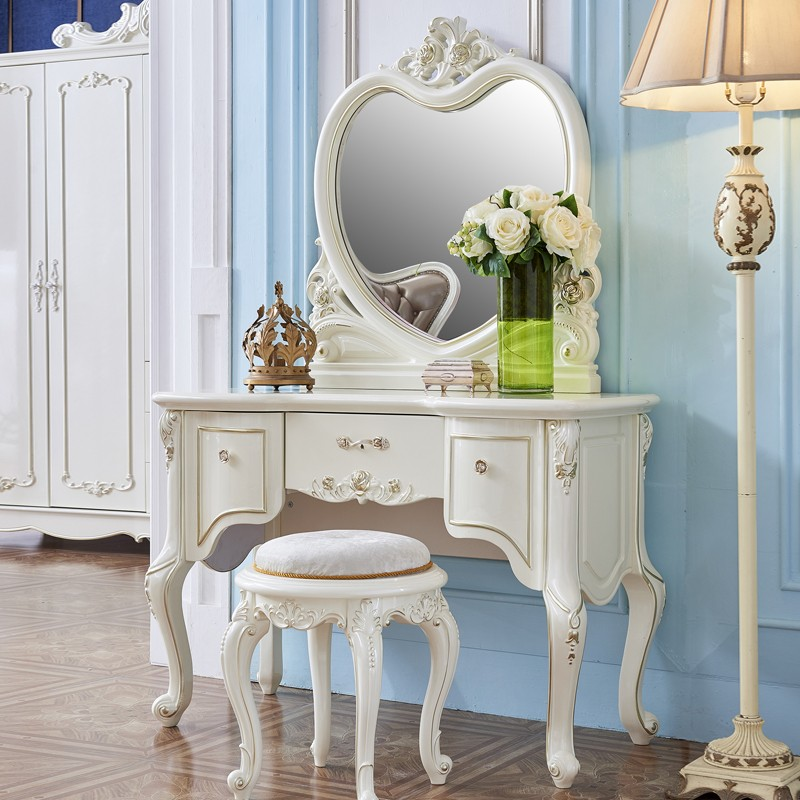 千匠一品浪漫法式客厅奢华雕花全实木带镜子梳妆台YL801-Q