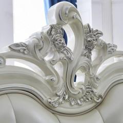 千匠一品法式雕花婚床奢华卧室全实木仿真皮1.8米双人床YL803-Q