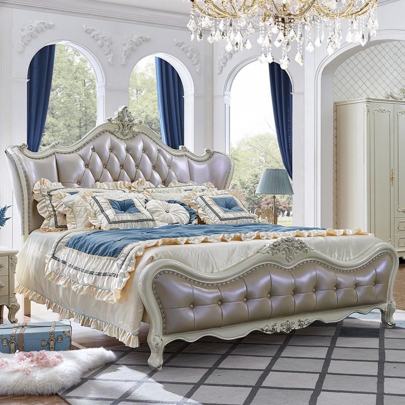千匠一品法式雕花婚床奢华卧室全实木仿真皮1.8米双人床YL805-Q
