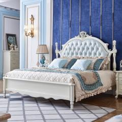 千匠一品法式雕花婚床奢华卧室全实木仿真皮1.8米1.5米双人床YL810-Q