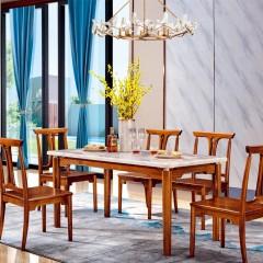 千匠一品新中式精选非洲进口金丝檀木大理石1.5m长餐台T02B-J