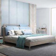 千匠一品 现代极简风格精选进口白蜡木+E1级三胺板+松木床板1.8M床V6-62A-Y