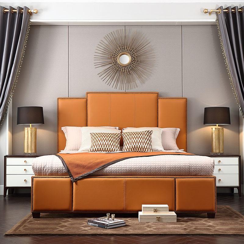 【精品】千匠一品轻奢美式优质榉木+环保油漆1.5m/1.8m卧室双人床SD1207-J
