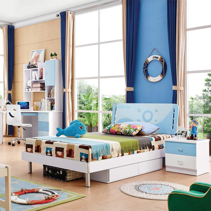 千匠一品韩式风格精选优质板式儿童家具床+床头柜+衣柜+书台四件套8601-R