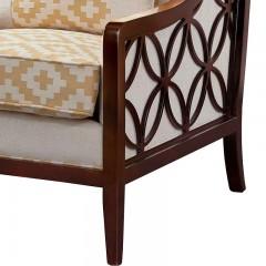 【精品】千匠一品轻奢美式精选进口桃花芯木实木框架休闲椅178-J