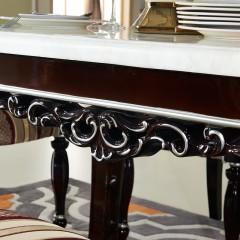 【精品】千匠一品轻奢欧式优质环保板材塑钢雕花+人造大理石1.4m餐桌ZT8616#-J