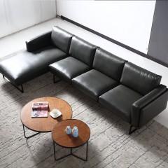 千匠一品现代风格进口青皮+金属底座客厅3+贵转角沙发F006#-M