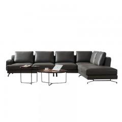 千匠一品现代风格进口青皮+优质金属底座客厅转角沙发F8833#-M