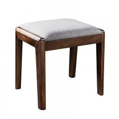 【精品】千匠一品 轻奢欧式南美黑胡桃实木+棉麻柔软座包意式妆凳F01#-L