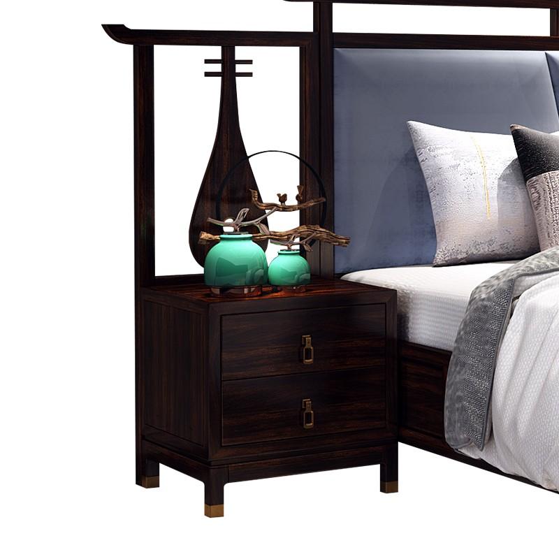 【精品】千匠一品轻奢新中式进口乌金木优质卧室床头柜X008-M