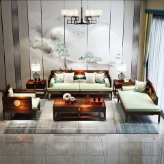 【精品】千匠一品轻奢新中式进口乌金木+优质棉麻+高密度海绵坐垫单/贵/三人位沙发组合X005-M