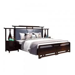 【精品】千匠一品轻奢新中式进口乌金木+真皮+高密度海绵靠背1.8米卧室床X008-M
