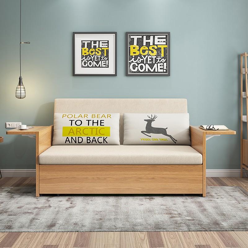 千匠一品 现代极简北欧风格多层实木+进口棉麻多功能海绵/乳胶储物沙发床908-J