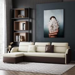 千匠一品 现代极简北欧风格精选实木多层板+优质弹簧+高密度海绵/天然乳胶转角沙发床005-J