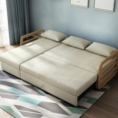 千匠一品 现代极简北欧风格多层实木+进口冰雪绒多功能海绵/乳胶转角沙发床020-J