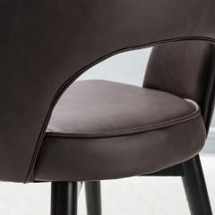 【精品】千匠一品轻奢意式极简PVC皮艺+橡木实木脚框架餐椅BY135-M