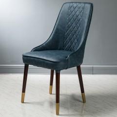 【精品】千匠一品轻奢意式极简PVC皮艺+橡木脚框架餐椅BY136-M