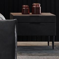 【精品】千匠一品轻奢意式极简优质仿皮工艺+高密度板柜框储物床头柜YS3-002A-J