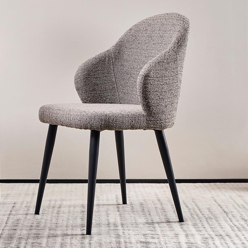 【精品】千匠一品轻奢意式极简优质绒布+高密度海绵+铁砂脚椅子217-M