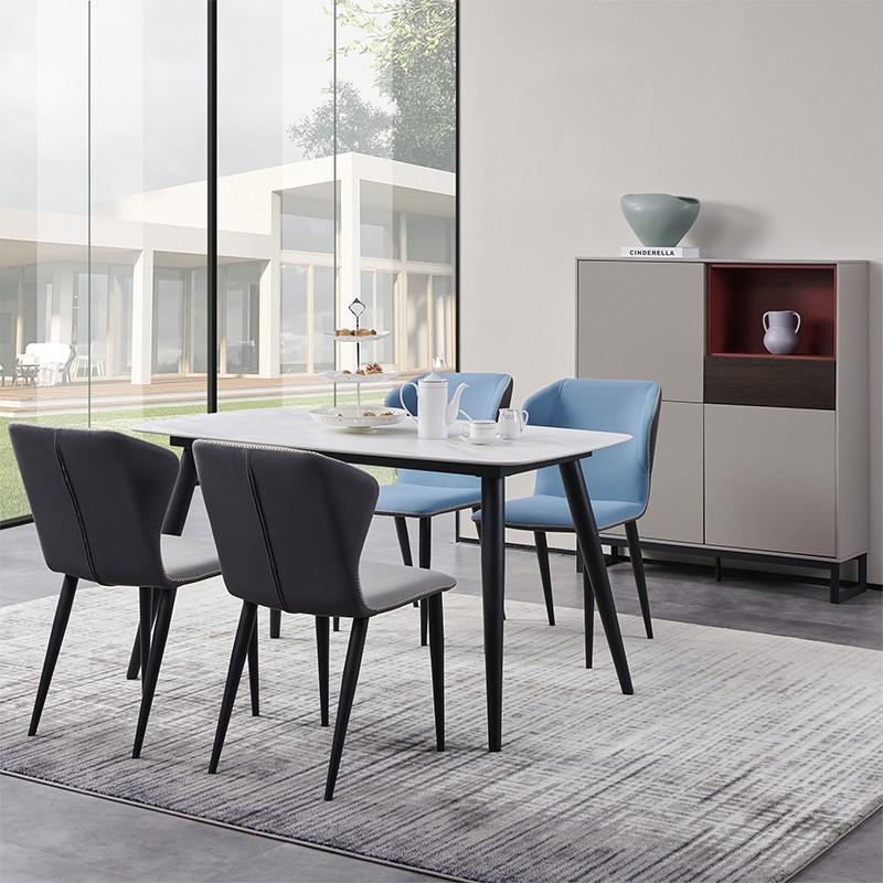 【精品】千匠一品轻奢意式极简优质铁框架+高密度海棉+科技布餐椅257-M