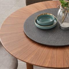 【精品】千匠一品轻奢简欧意式优质E1环保板+贴黑胡桃木皮+5CC火烧石钢化玻璃餐台228-M