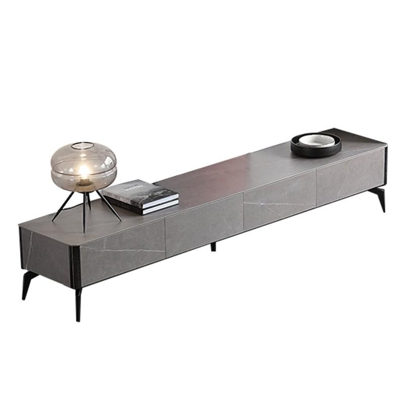 千匠一品现代意式极简精选优质全岩板台面柜身+缓冲导轨+不锈钢镀黑钛金地柜DE006-VDG-J