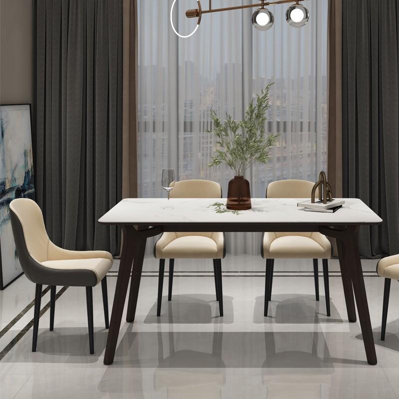 千匠一品现代意式极简精选优质卡特金岩板+进口白蜡木1.4m/1.6m长餐桌DE009-CT1-J