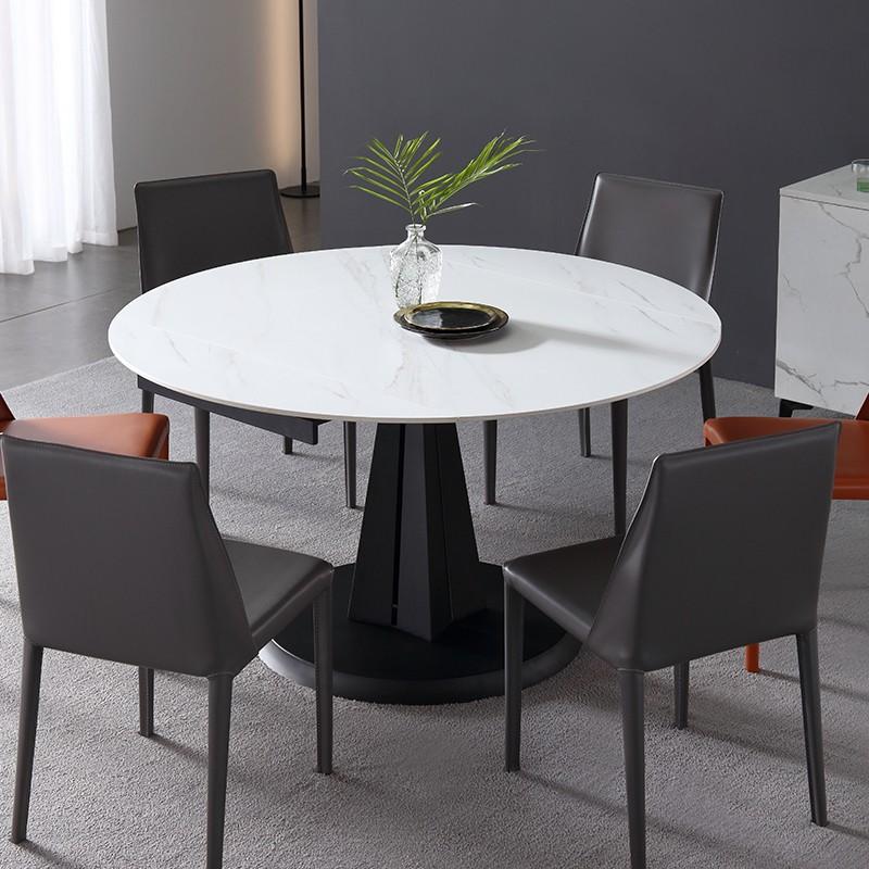 千匠一品现代意式极简精选优质岩板+碳素钢底架旋转功能餐台DE010-CT-J