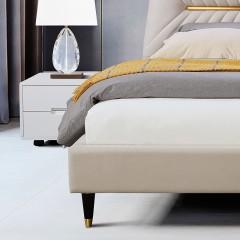 千匠一品现代意式极简精选科技布+松木框架1.8m双人床DE010-C-J