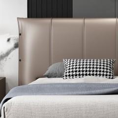 千匠一品现代意式极简精选优质真皮+白蜡木实木框架松木床板1.5m/1.8m双人床DE037-C1-J