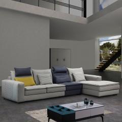 千匠一品现代意式极简精选优质科技布+实木框架+乳胶+密度整芯海绵+高强度钢筋脚转角沙发DE042-SF3-J