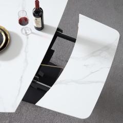 千匠一品现代意式极简精选优质岩板+黑砂碳素钢脚1.2m旋转多功能餐台DE005-CT1-J