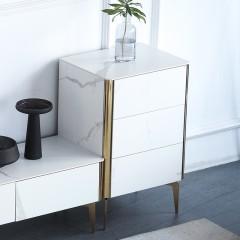 千匠一品现代意式极简精选优质白色全岩板台面柜身+缓冲导轨+不锈钢镀钛金三斗柜DE007-VDG3-J