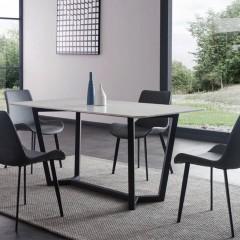 千匠一品现代意式极简精选优质岩板+黑砂碳素钢脚1.4m/1.6m/1.8m长餐桌DE1406-CT1-J