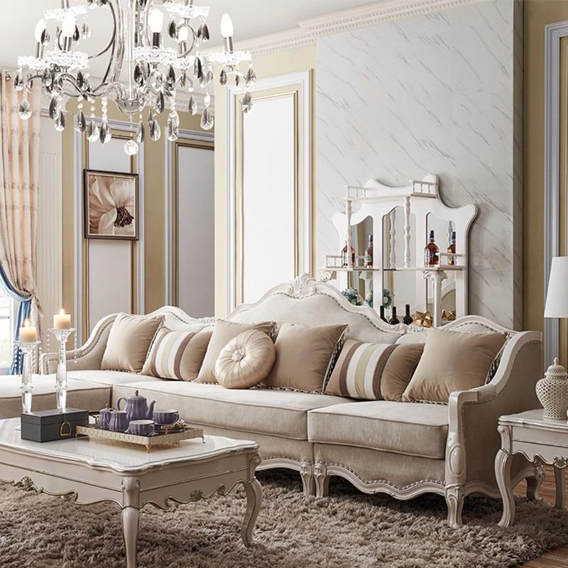 千匠一品欧式橡木全实木进口绒布转角沙发G9021-J