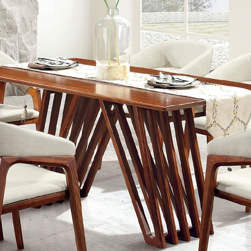 【精品】千匠一品轻奢北欧风格优质白蜡木1.5M/1.8M长餐桌6602-E