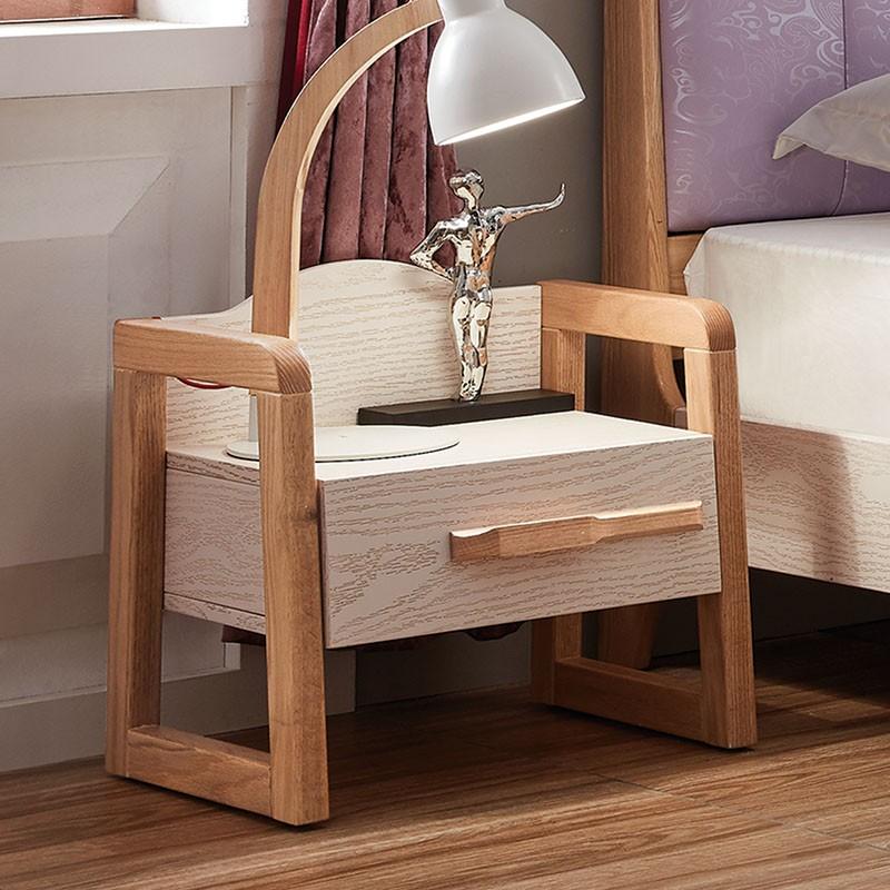 千匠一品红橡木实木床头柜北欧风格HB-15C-X