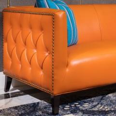 【精品】千匠一品轻奢美式俄罗斯进口松木+实木多层板+中厚皮全皮A021二位沙发-X