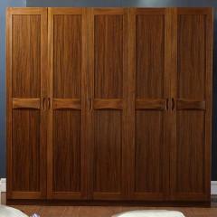 千匠一品 新中式胡桃木板木结合五门大衣柜YG9602-C