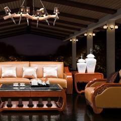 千匠一品中式虎斑木皮艺3+2+1沙发组合B701-H