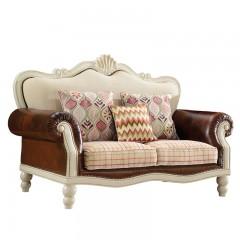 千匠一品美式田园泰国进口橡木全实木+真皮+高档布艺沙发组合YN601-F