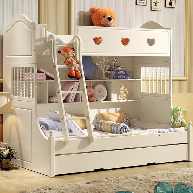千匠一品韩式优质橡胶木中纤板板木结合儿童双层床LM-868-Y
