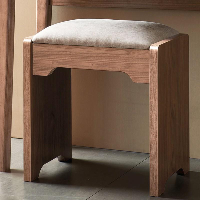 【精品】千匠一品轻奢中式优质白蜡木框架+优质仿真皮妆凳B-040-X