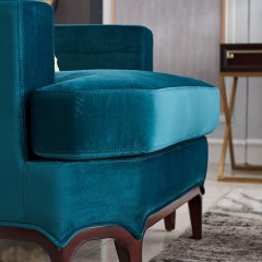 【精品】千匠一品轻奢美式优质金丝檀实木布艺1+2+3沙发组合1706-L