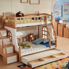 千匠一品 精选优质橡胶木北欧简约儿童双层子母拖床903-C