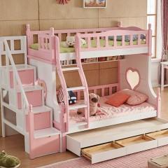 千匠一品 精选优质橡胶木北欧简约儿童双层子母床梯柜905-C